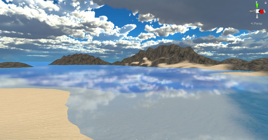 Showing Basic Water Shader Color with Smoothness at 1